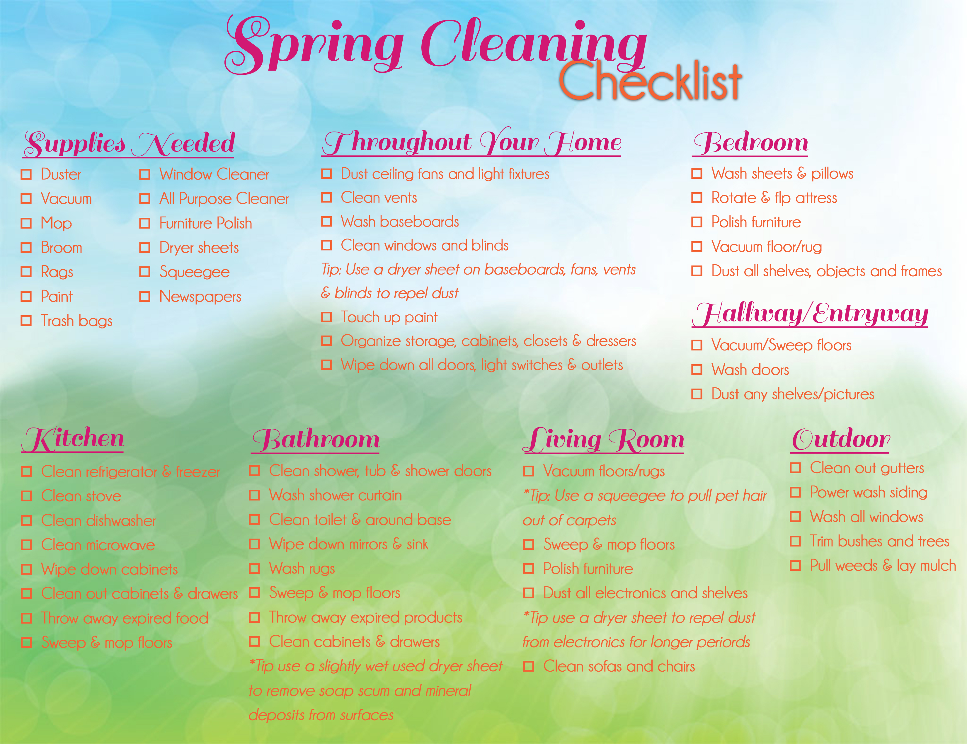 Spring Cleaning Checklist Minteer Team Real Estate – Sample Spring Cleaning Checklist