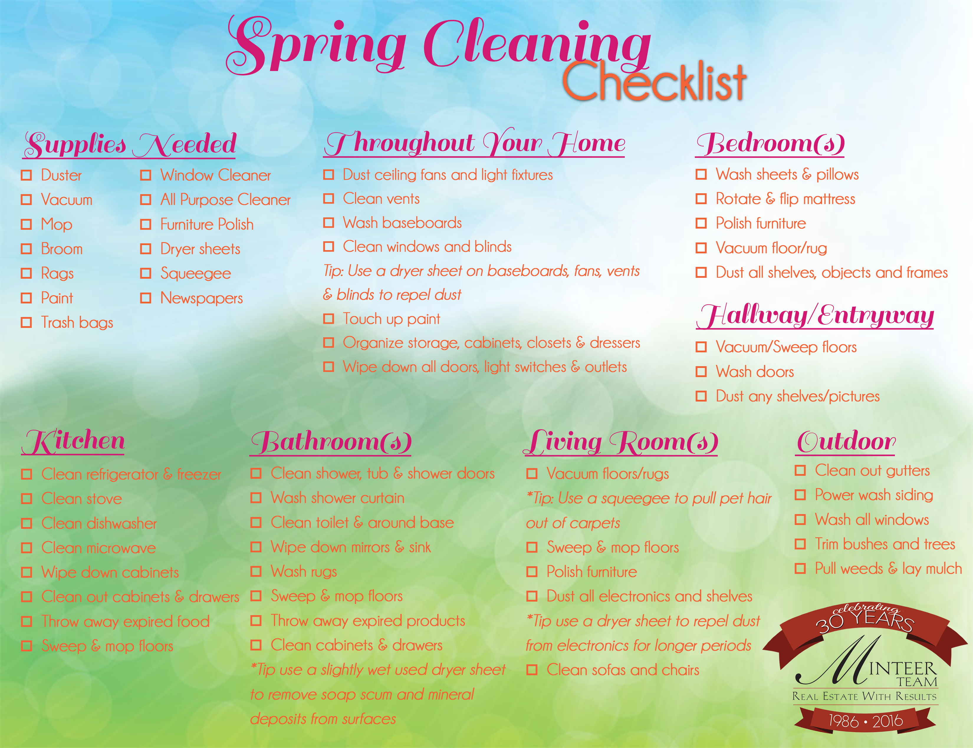 2016 Spring Cleaning Checklist Minteer Team Real Estate – Sample Spring Cleaning Checklist